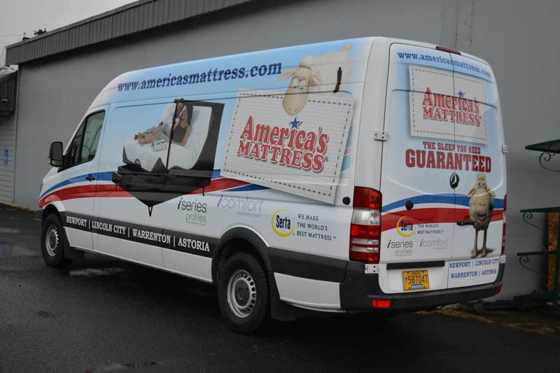America's Mattress Van Wrap by Xtreme Grafx in Albany, Oregon